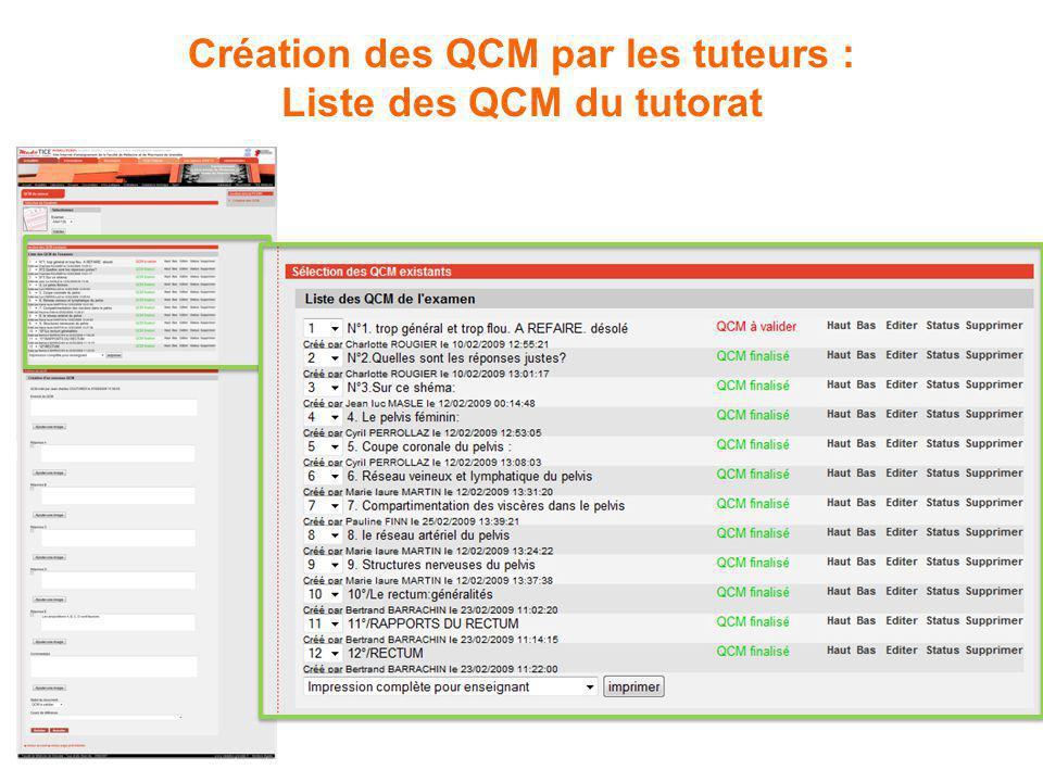 Création des QCM par les tuteurs : Liste des QCM du tutorat
