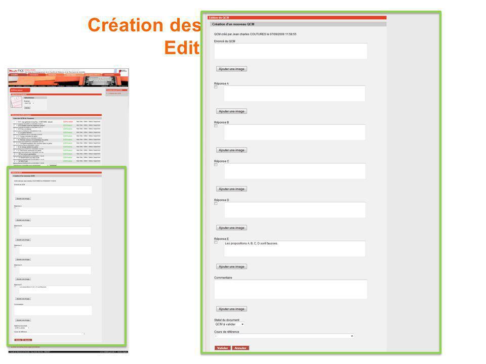 Création des QCM par les tuteurs : Edition d'un QCM