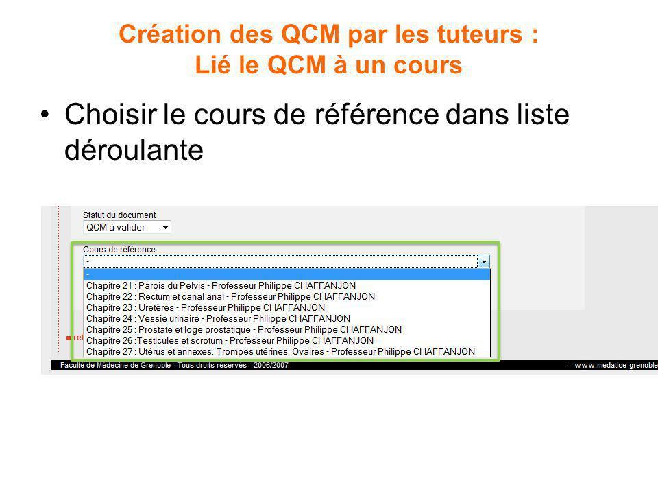 Création des QCM par les tuteurs : Lié le QCM à un cours