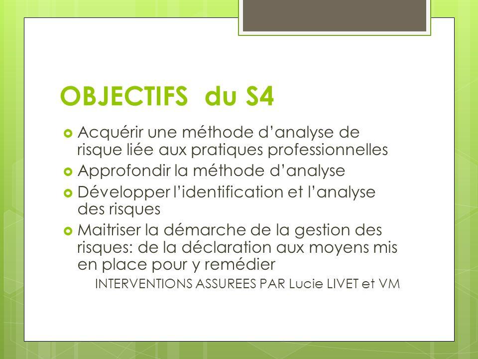 OBJECTIFS du S4 Acquérir une méthode d'analyse de risque liée aux pratiques professionnelles. Approfondir la méthode d'analyse.