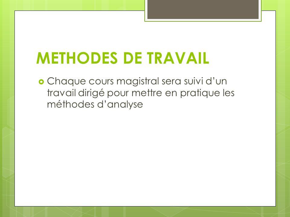 METHODES DE TRAVAIL Chaque cours magistral sera suivi d'un travail dirigé pour mettre en pratique les méthodes d'analyse.