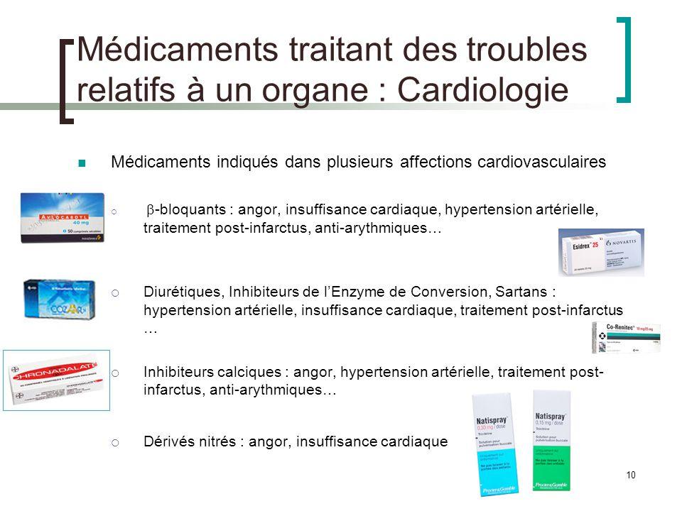 Médicaments traitant des troubles relatifs à un organe : Cardiologie