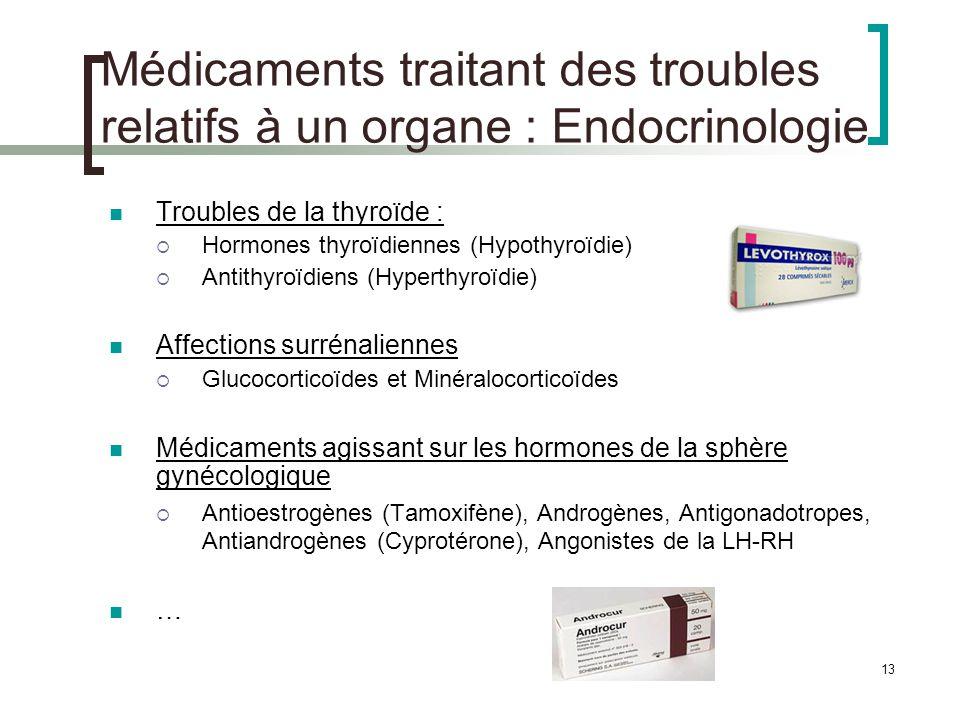 Médicaments traitant des troubles relatifs à un organe : Endocrinologie