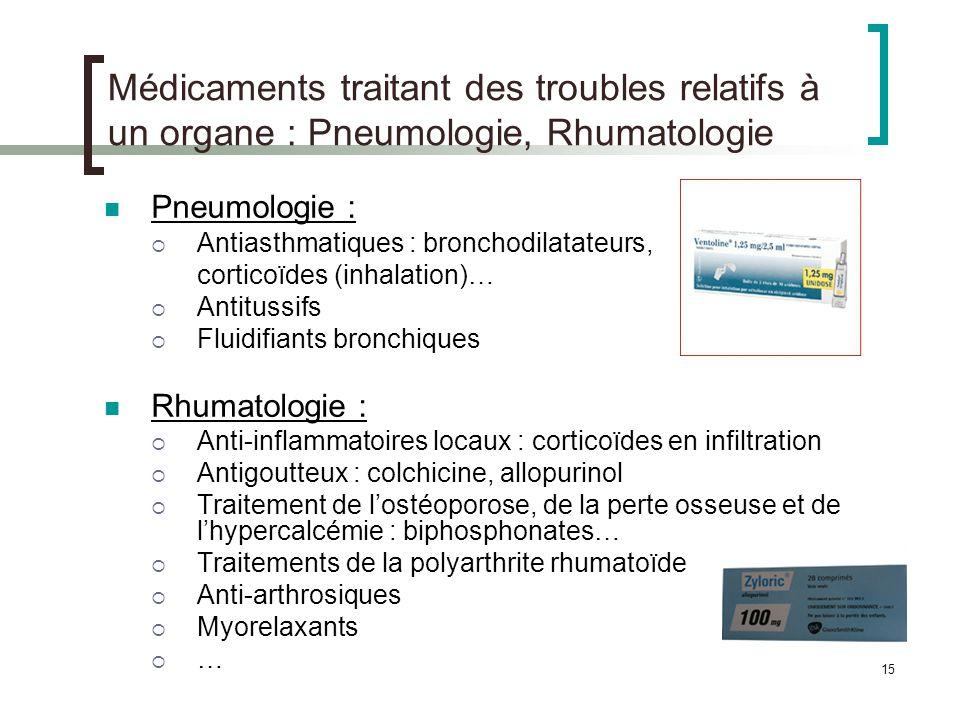 Médicaments traitant des troubles relatifs à un organe : Pneumologie, Rhumatologie