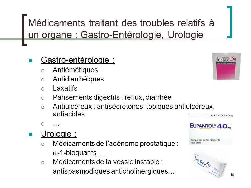 Médicaments traitant des troubles relatifs à un organe : Gastro-Entérologie, Urologie