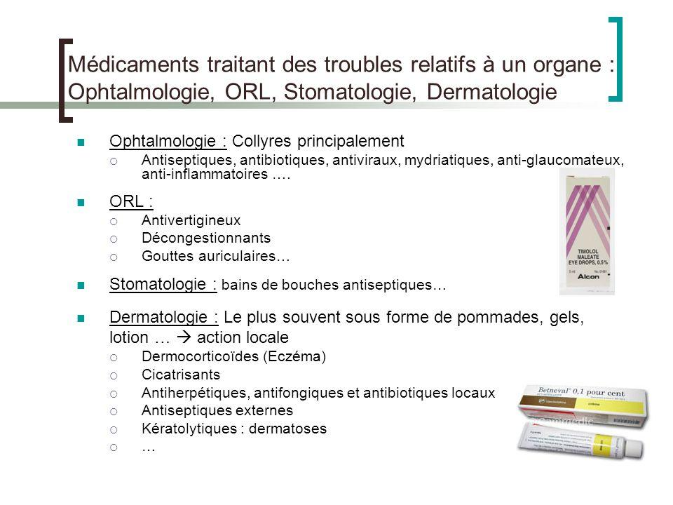 Médicaments traitant des troubles relatifs à un organe : Ophtalmologie, ORL, Stomatologie, Dermatologie