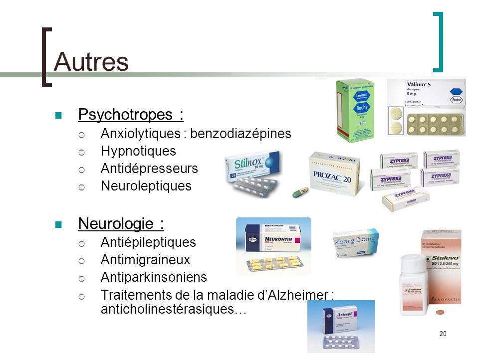 Autres Psychotropes : Neurologie : Anxiolytiques : benzodiazépines