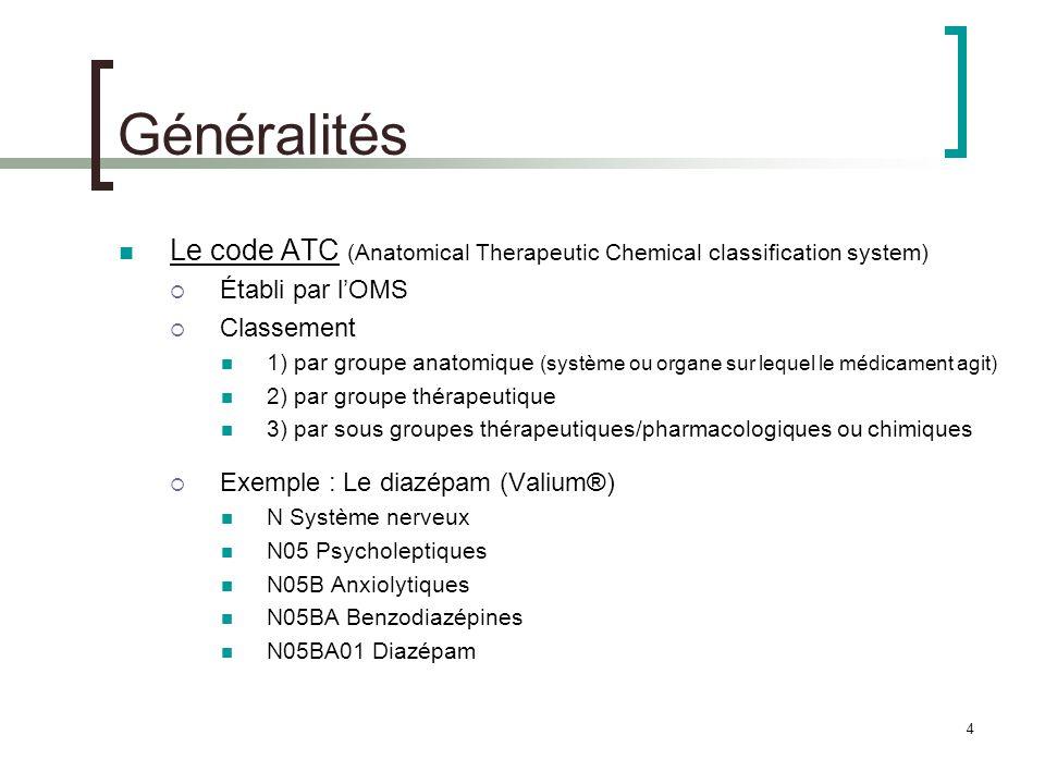 Généralités Le code ATC (Anatomical Therapeutic Chemical classification system) Établi par l'OMS. Classement.