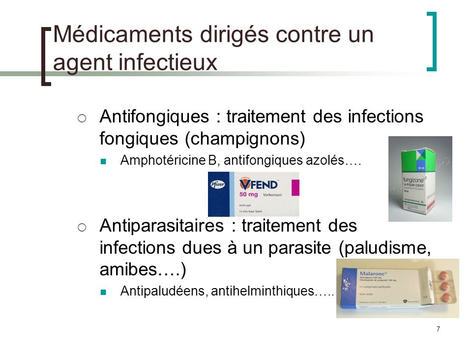 Médicaments dirigés contre un agent infectieux