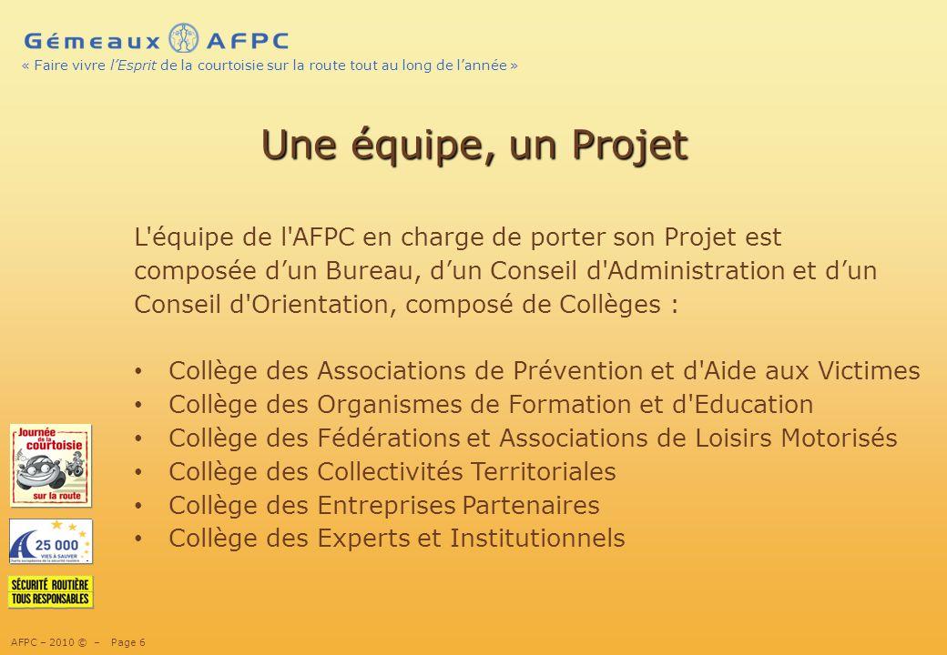 13/02/10 Une équipe, un Projet. L équipe de l AFPC en charge de porter son Projet est. composée d'un Bureau, d'un Conseil d Administration et d'un.