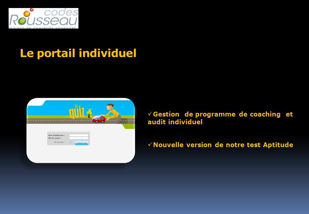 Le portail individuel Gestion de programme de coaching et audit individuel.