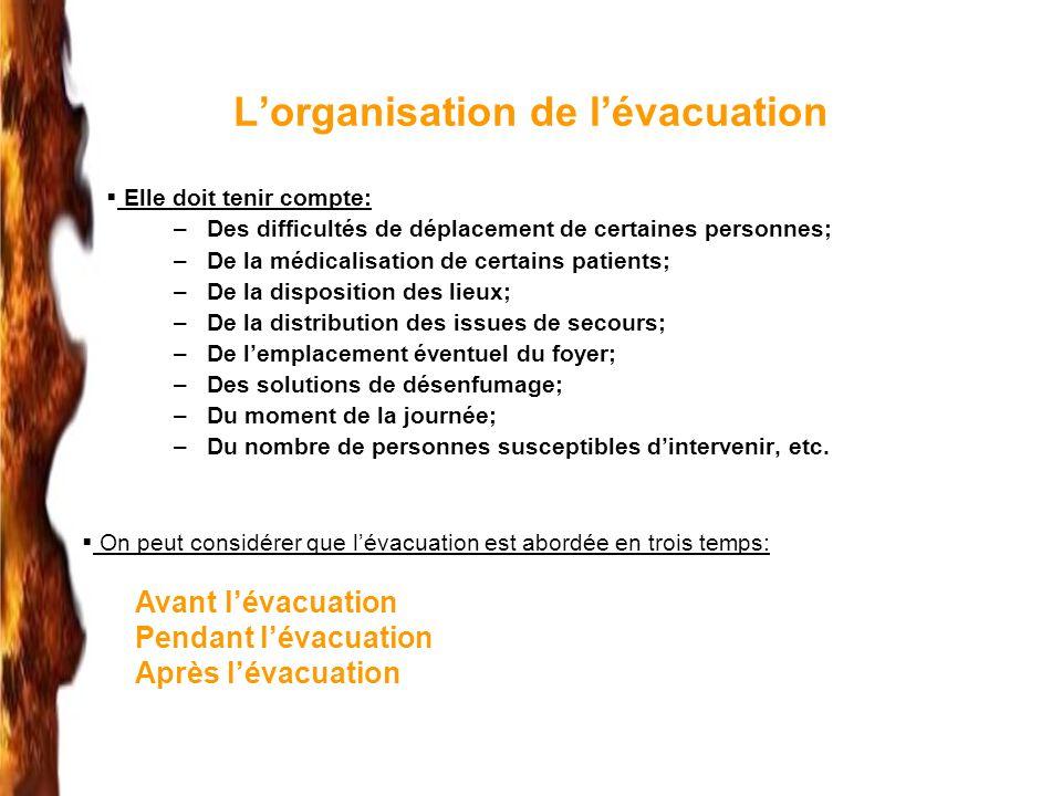 L'organisation de l'évacuation