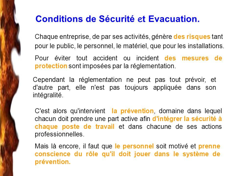 Conditions de Sécurité et Evacuation.