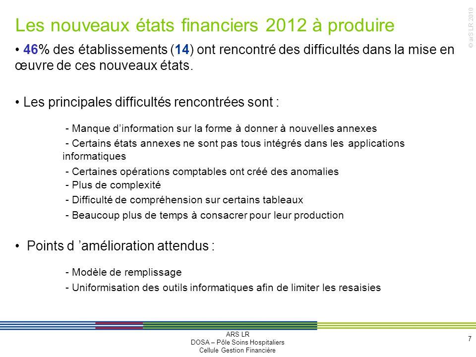 Les nouveaux états financiers 2012 à produire