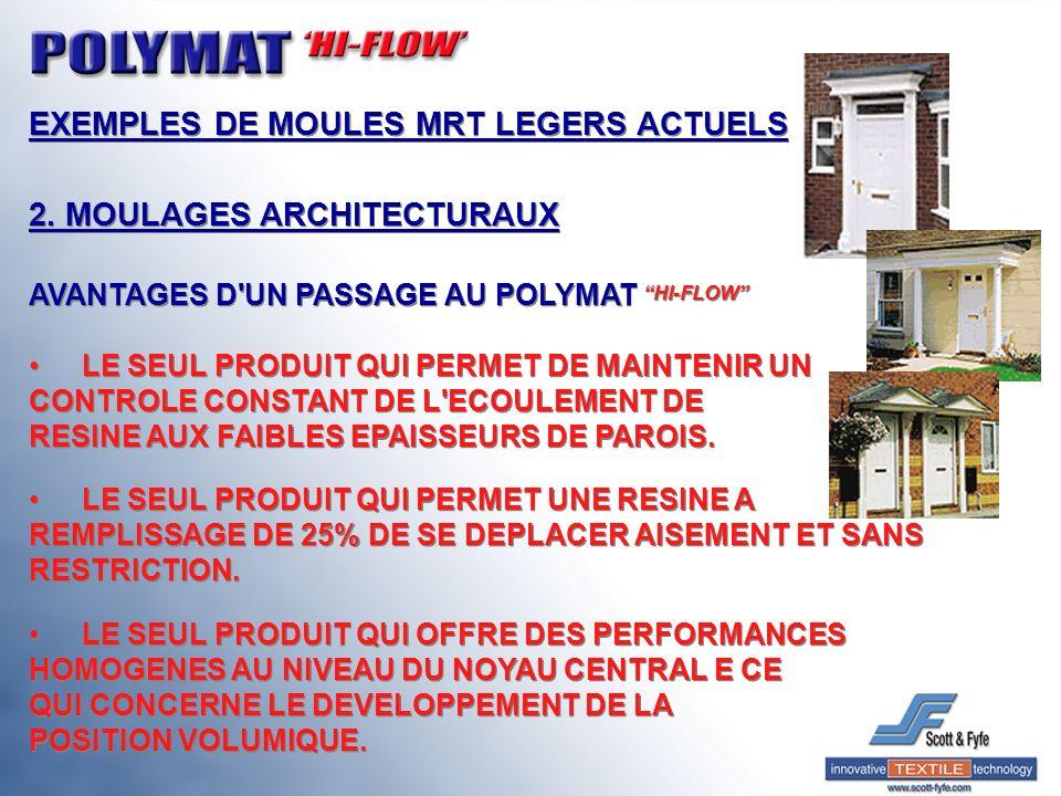 EXEMPLES DE MOULES MRT LEGERS ACTUELS 2. MOULAGES ARCHITECTURAUX