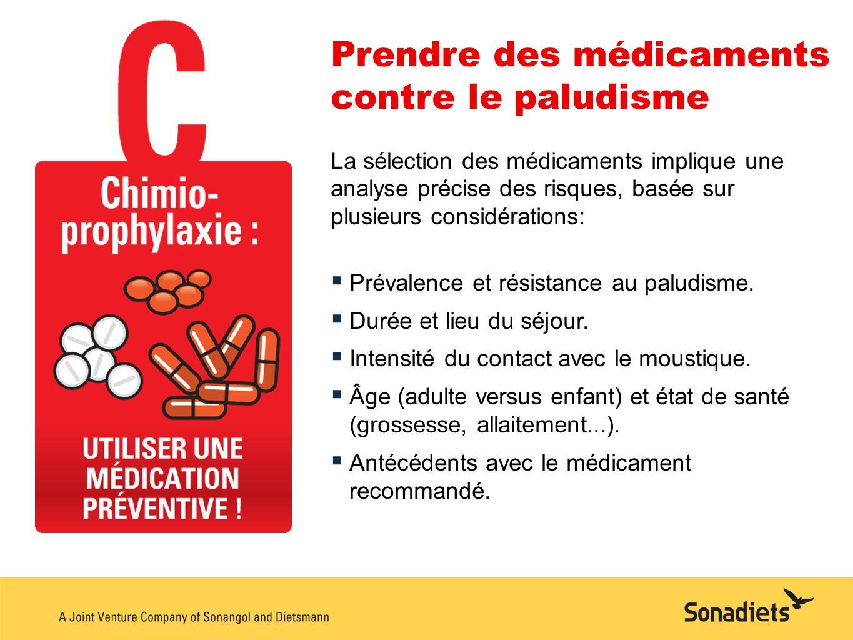 Prendre des médicaments contre le paludisme