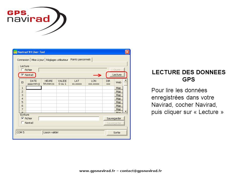 LECTURE DES DONNEES GPS www.gpsnavirad.fr – contact@gpsnavirad.fr