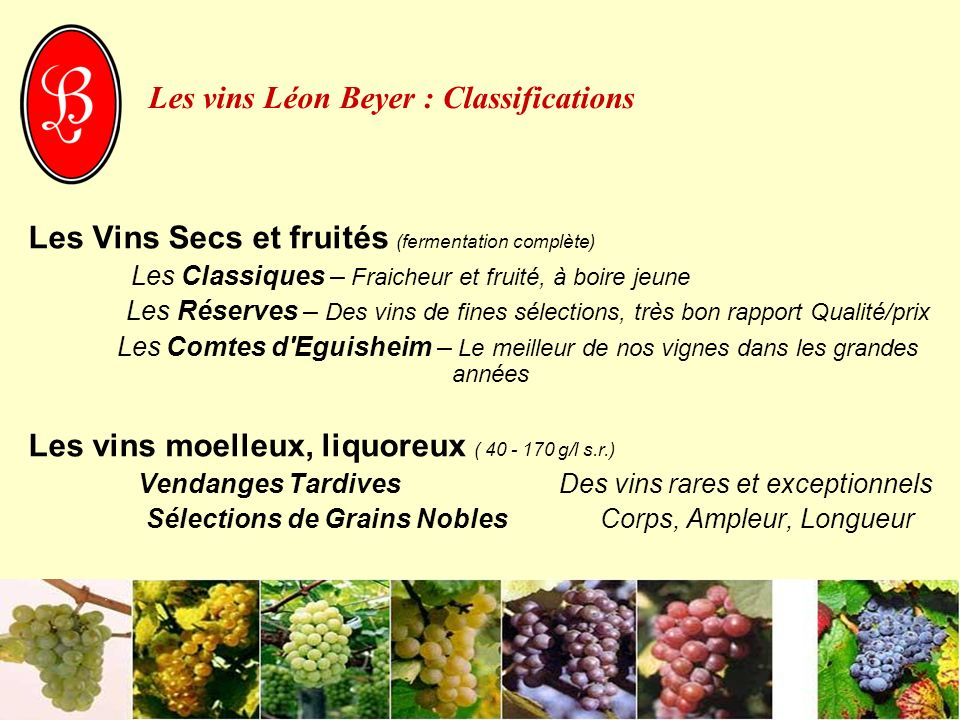Les vins Léon Beyer : Classifications