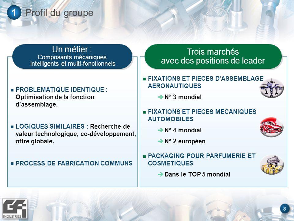 Profil du groupe 1 Un métier : Composants mécaniques