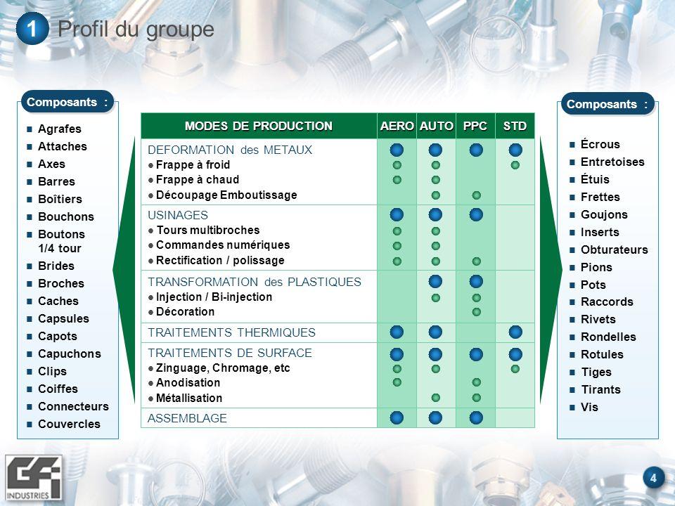 Profil du groupe 1 Agrafes Attaches Axes Barres Boîtiers Bouchons