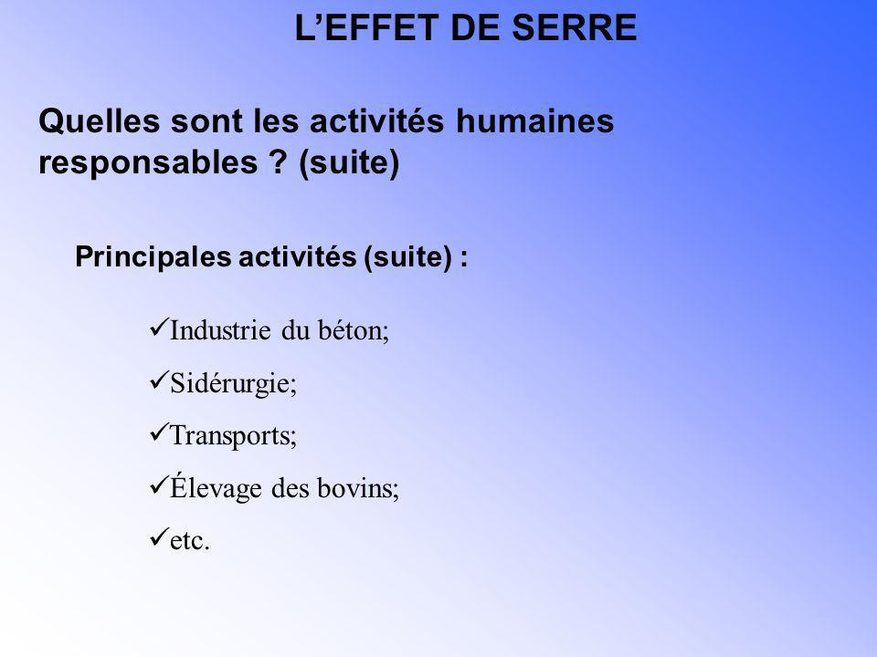 L'EFFET DE SERRE Quelles sont les activités humaines responsables (suite) Principales activités (suite) :