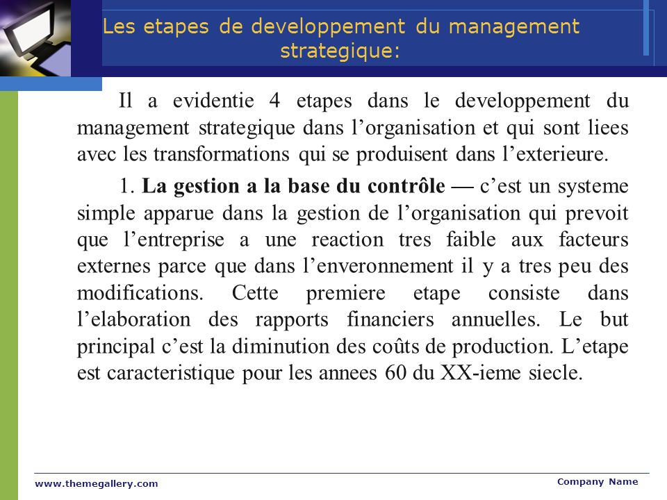 Les etapes de developpement du management strategique: