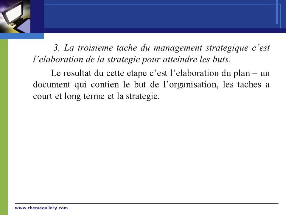 3. La troisieme tache du management strategique c'est l'elaboration de la strategie pour atteindre les buts.