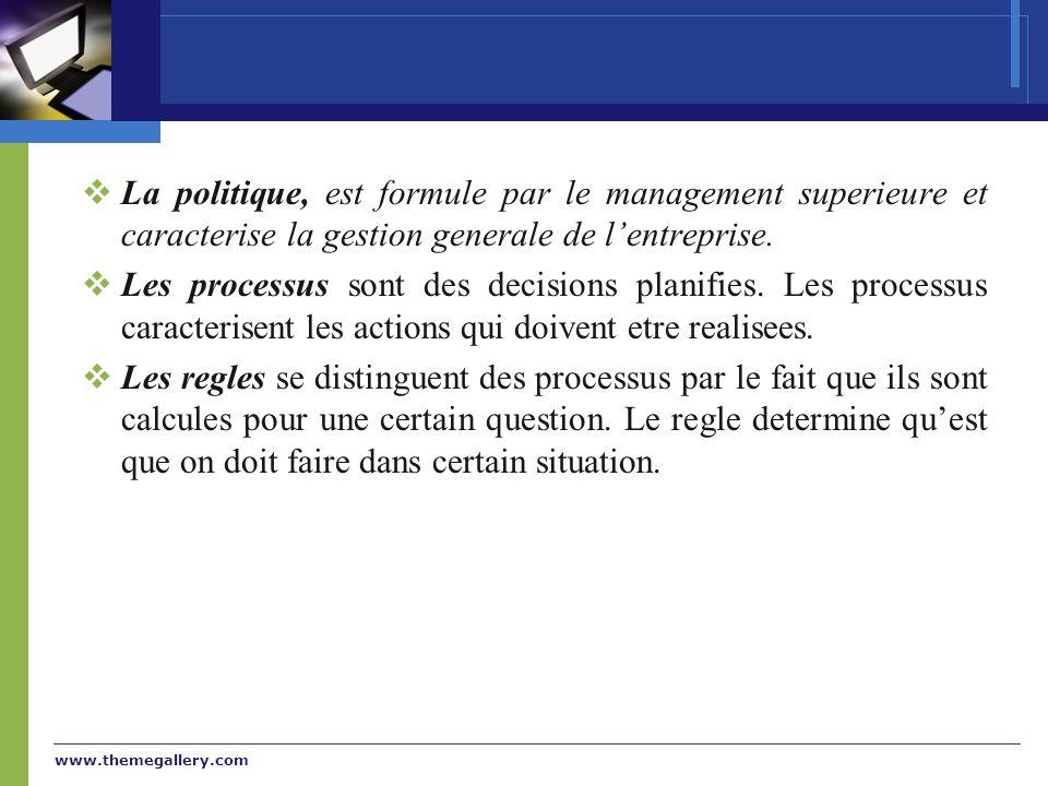 La politique, est formule par le management superieure et caracterise la gestion generale de l'entreprise.