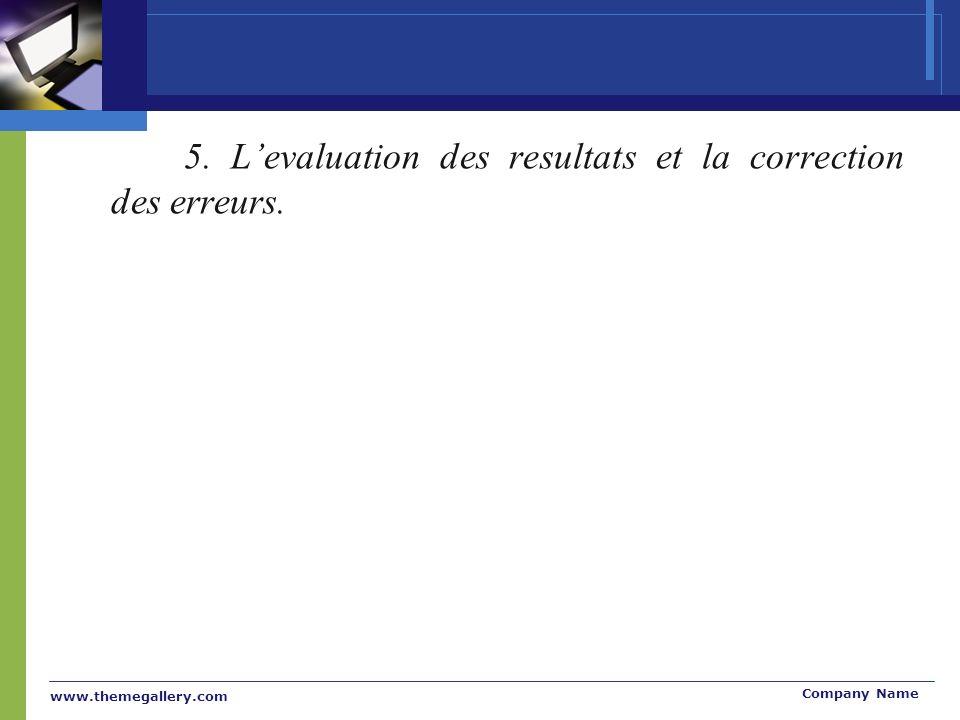 5. L'evaluation des resultats et la correction des erreurs.