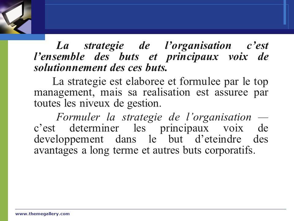La strategie de l'organisation c'est l'ensemble des buts et principaux voix de solutionnement des ces buts.