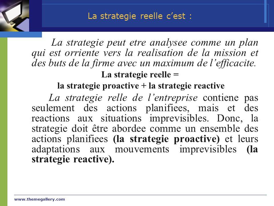 La strategie reelle c'est :