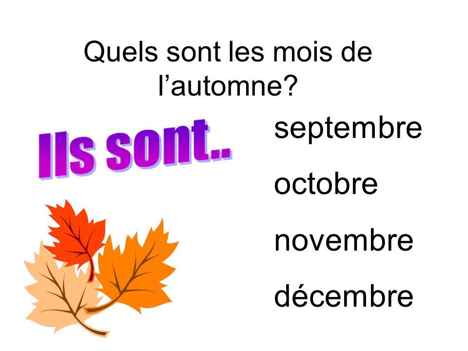 Quels sont les mois de l'automne