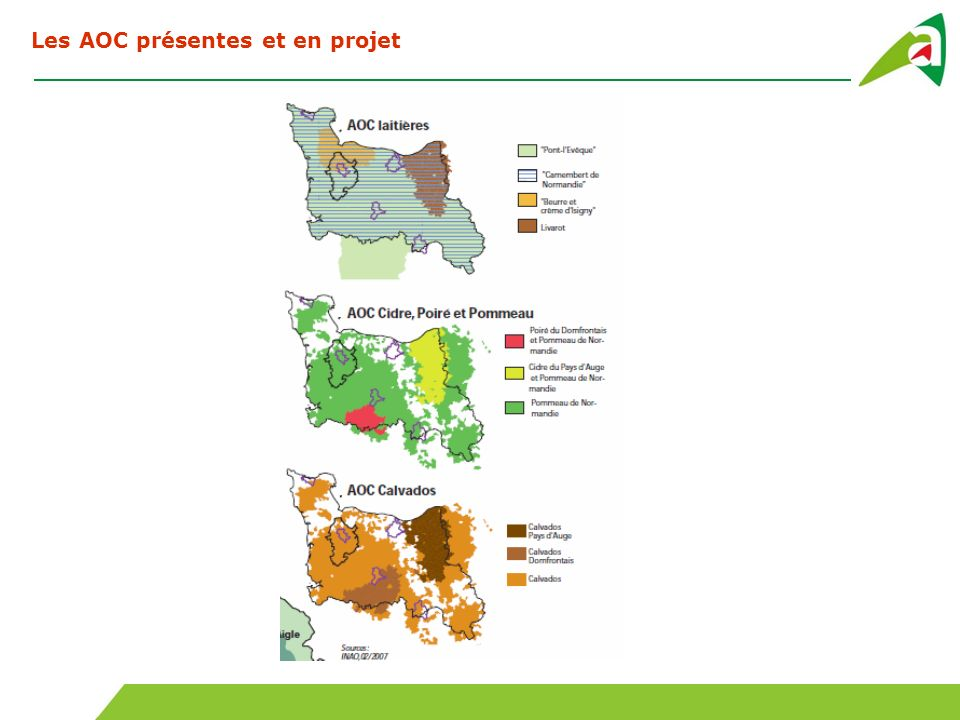 Les AOC présentes et en projet