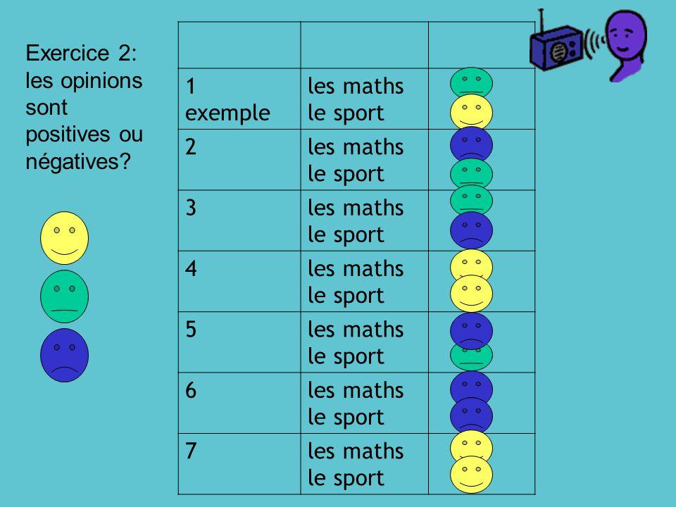 1 exemple les maths le sport 2 3 4 5 6 7 Exercice 2: les opinions sont positives ou négatives