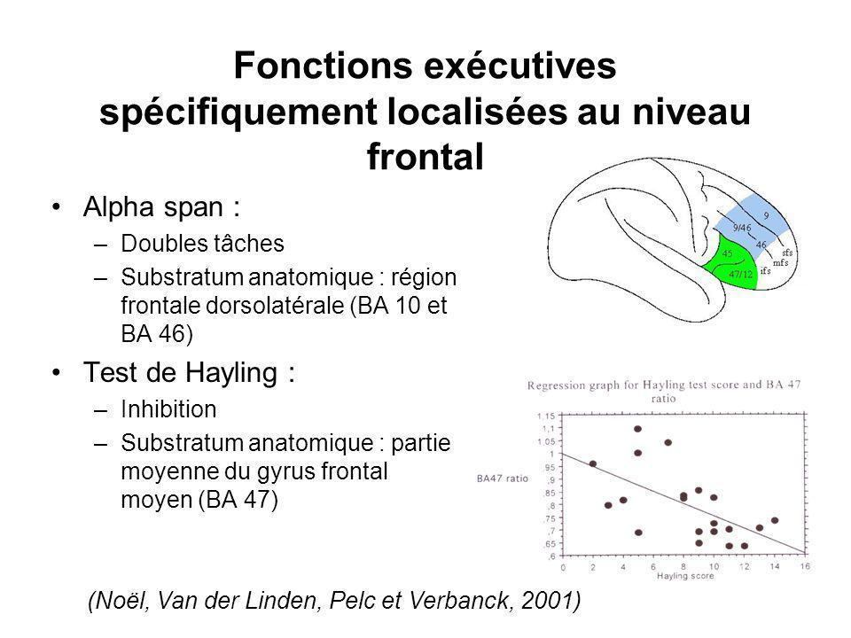Fonctions exécutives spécifiquement localisées au niveau frontal