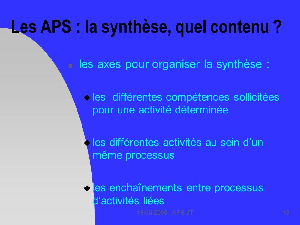 Les APS : la synthèse, quel contenu