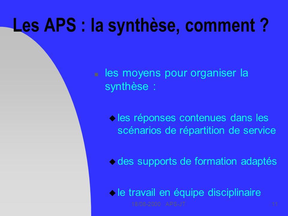Les APS : la synthèse, comment