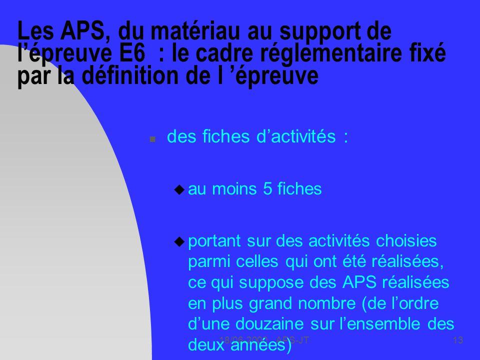 Les APS, du matériau au support de l'épreuve E6 : le cadre réglementaire fixé par la définition de l 'épreuve