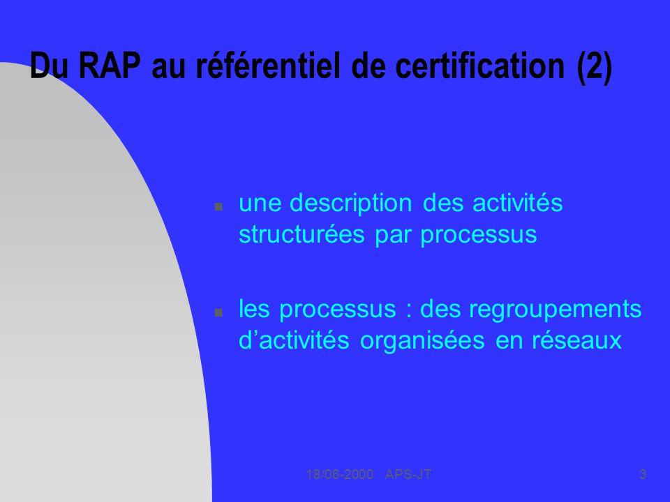 Du RAP au référentiel de certification (2)