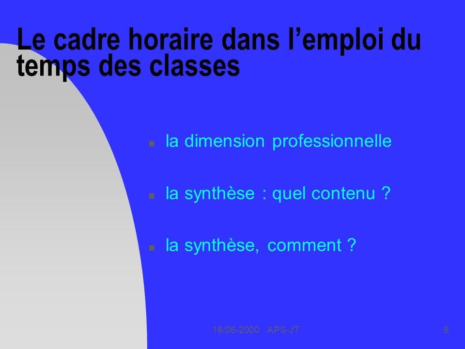 Le cadre horaire dans l'emploi du temps des classes