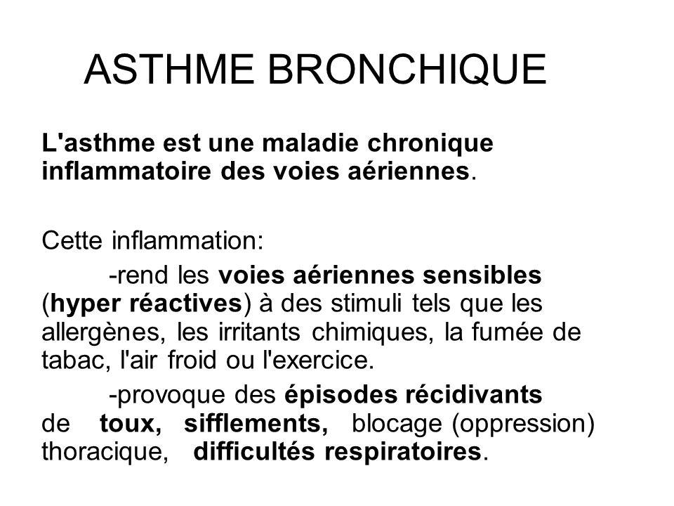 ASTHME BRONCHIQUE L asthme est une maladie chronique inflammatoire des voies aériennes. Cette inflammation: