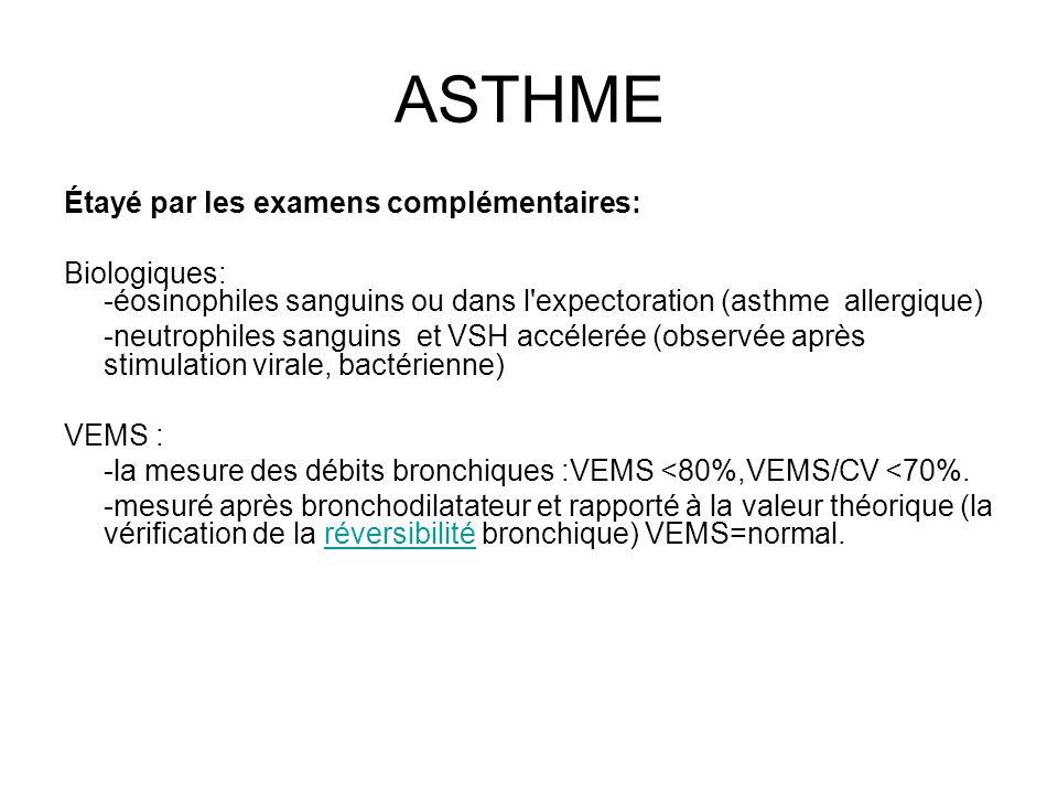 ASTHME Étayé par les examens complémentaires: