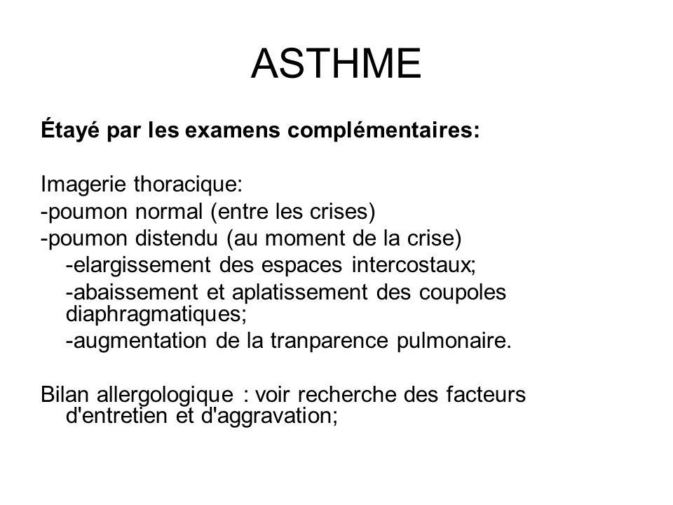 ASTHME Étayé par les examens complémentaires: Imagerie thoracique: