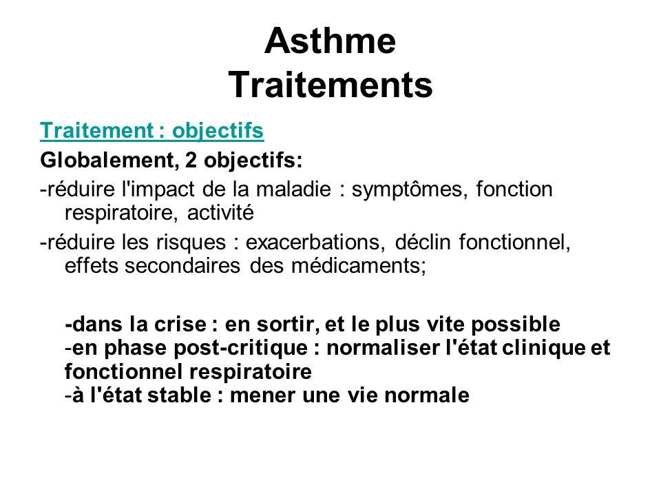 Asthme Traitements Traitement : objectifs Globalement, 2 objectifs: