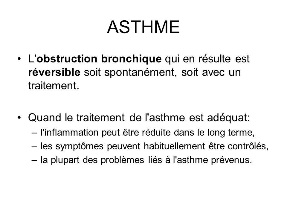 ASTHMEL obstruction bronchique qui en résulte est réversible soit spontanément, soit avec un traitement.