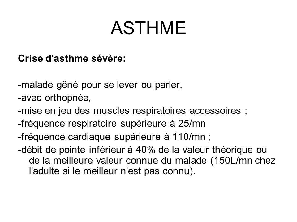 ASTHME Crise d asthme sévère: -malade gêné pour se lever ou parler,