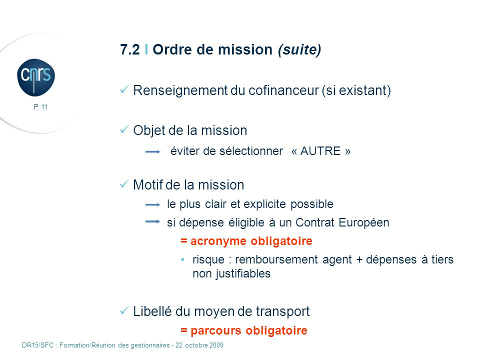 7.2 I Ordre de mission (suite)