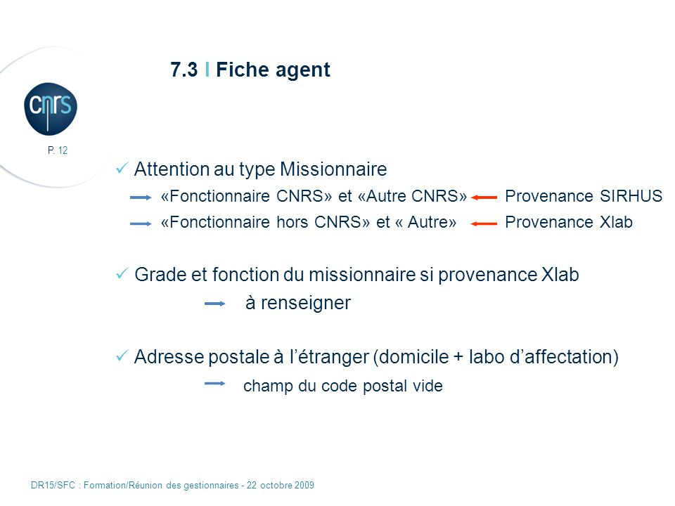7.3 I Fiche agent Attention au type Missionnaire