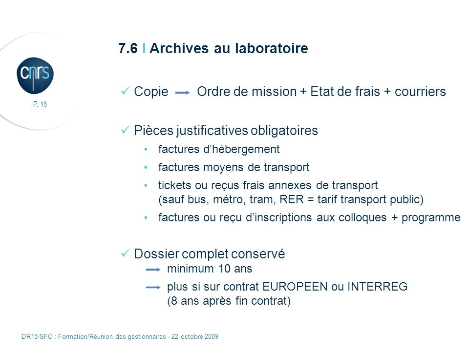 7.6 I Archives au laboratoire