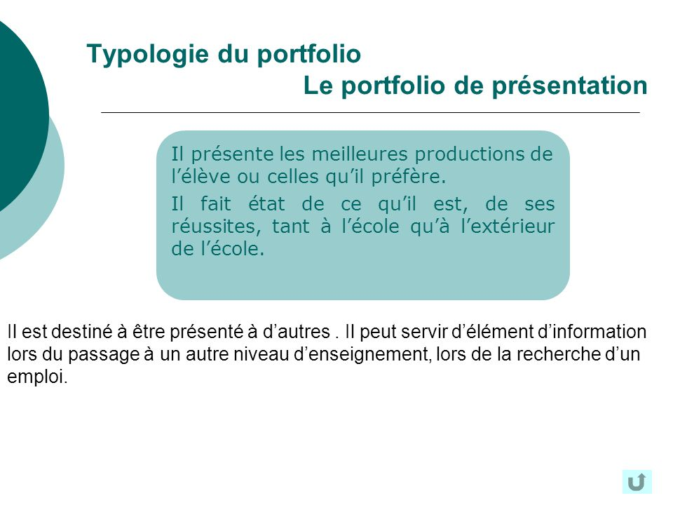 Typologie du portfolio Le portfolio de présentation